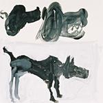 Hund, Acryl auf Papier  40x40cm, 2003/04
