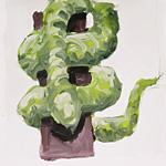 Schlange, Acryl auf Papier 40x40cm, 2003