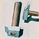 Land der Hämmer, Gouache auf Papier 40x40cm, 2003