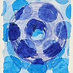 Schattenbild mit Löchern, Gouache auf Papier 40x40cm, 2003