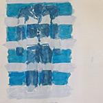 Gewänder blau, Gouache auf Papier 40x40cm, 2003