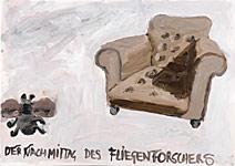 Fliegenforscher, Acryl auf Papier 70x50cm, 2004