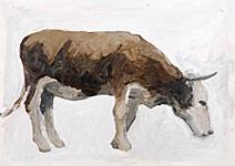 Kuh 2, Gouache auf Papier 70x50cm, 2004
