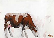 Kuh 4 (heilige), Acryl auf Papier  70x50cm, 2004