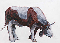 Glockenbulle, Acryl auf Papier  70x50cm, 2004