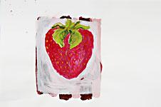 Erdbeergeheimnis, Acryl auf Papier 70x50cm, 2007