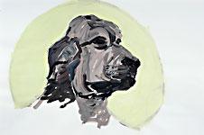 Der Würdige Grüssaugust, Acryl auf Papier 70x50cm, 2007