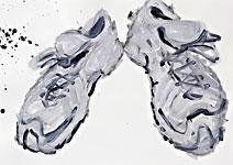 Fit wie ein Turnschuh 4, Acryl auf Papier 70x50cm, 2007